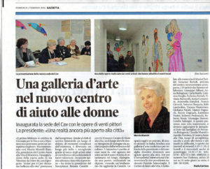 """""""Una galleria d'arte nel nuovo centro di aiuto alle donne Mantova"""" articolo dalla Gazzetta di Mantova"""