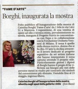 Articolo sulla mostra Fame D'arte 2015
