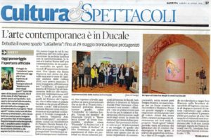 Articolo Gazzetta di Mantova LaGalleria mostra di Arte Contemporanea a Palazzo Ducale
