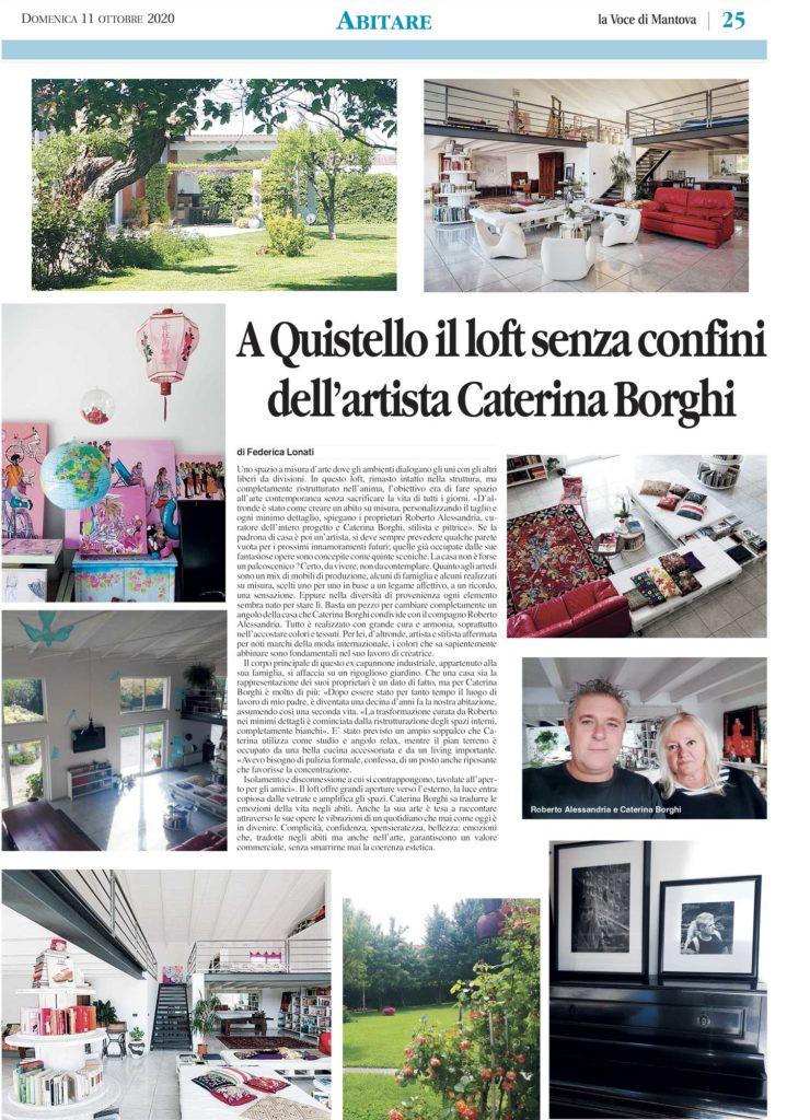 Articolo della rubrica Abitare, La Voce Di Mantova. A Quistello il loft senza confini dell'artista Caterina Borghi.