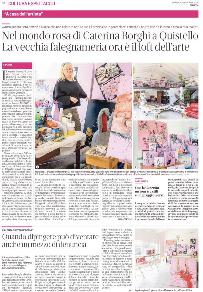 Nel mondo rosa di Caterina Borghi a Quistello. La vecchia falegnameria è ora il loft dell'arte.